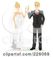 Royalty Free RF Clipart Illustration Of Newlyweds Toasting With Champagne by BNP Design Studio
