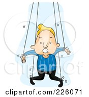 Royalty Free RF Clipart Illustration Of A Man Attached To Puppet Strings by BNP Design Studio