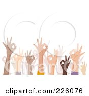 Royalty Free RF Clipart Illustration Of A Crowd Of Hands Gesturing Okay