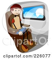 Royalty Free RF Clipart Illustration Of A Stick Boy Sitting By A Window On A Plane by BNP Design Studio