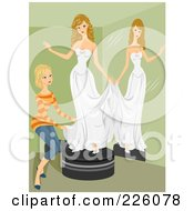 Royalty Free RF Clipart Illustration Of A Woman Helping A Woman Try On A Bridal Gown By A Mirror