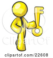 Clipart Illustration Of A Yellow Businessman Holding Up A Large Golden Skeleton Key