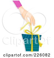 Royalty Free RF Clipart Illustration Of A Hand Pulling A Bow Off Of A Gift Box by BNP Design Studio