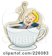 Royalty Free RF Clipart Illustration Of A Businessman Relaxing In A Coffee Cup