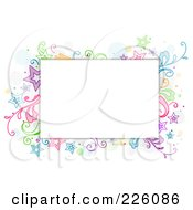 Royalty Free RF Clipart Illustration Of A Star And Vine Doodle Around White Space by BNP Design Studio