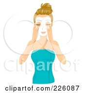 Royalty Free RF Clipart Illustration Of A Pretty Woman Applying A White Facial Mask