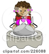 Royalty Free RF Clipart Illustration Of A Hungry Black Girl Sitting With A Platter