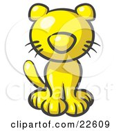 Clipart Illustration Of A Cute Yellow Kitty Cat Looking Curiously At The Viewer