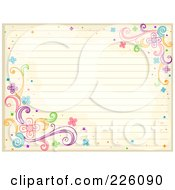 Antique Ruled Paper With Swirl And Flower Doodles