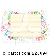 Antique Ruled Paper Bordered With Swirl And Flower Doodles