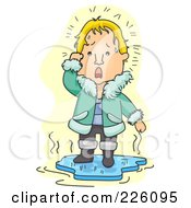 Royalty Free RF Clipart Illustration Of A Man Standing On Melting Ice