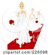 Royalty Free RF Clipart Illustration Of Models Walking On A Red Carpet In Wedding Gowns by BNP Design Studio