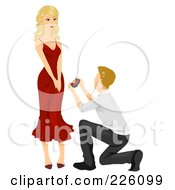 Royalty Free RF Clipart Illustration Of A Man Looking Up At His Girlfriend And Proposing