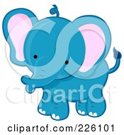 Royalty Free RF Clipart Illustration Of A Cute Blue Baby Elephant by BNP Design Studio
