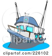 Royalty Free RF Clipart Illustration Of A Fishing Trawler Boat