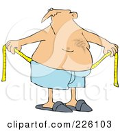 Royalty Free RF Clipart Illustration Of A Chubby Man Measuring Around His Waist