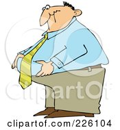 Royalty Free RF Clipart Illustration Of A Fat Businessman Standing And Grabbing His Belly Fat