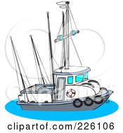 Royalty Free RF Clipart Illustration Of A Trawler Fishing Boat by Dennis Cox