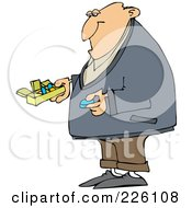 Royalty Free RF Clipart Illustration Of A Man Holding A Blue Pill And A Daily Organizer by Dennis Cox