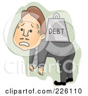 Businessman Walking Around With Heavy Debt On His Back