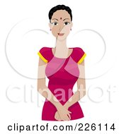 Royalty Free RF Clipart Illustration Of A Beautiful Indian Woman In A Pink Dress by BNP Design Studio