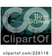 Royalty Free RF Clipart Illustration Of A Happy Halloween Greeting Over A Cemetery With A Dead Tree by BNP Design Studio