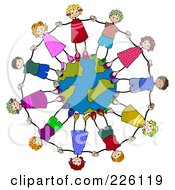 Royalty Free RF Clipart Illustration Of Diverse Stick Children Holding Hands And Standing On A Globe