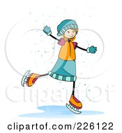 Royalty Free RF Clipart Illustration Of A Stick Girl Ice Skating In The Snow by BNP Design Studio