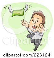 Royalty Free RF Clipart Illustration Of A Businessman Chasing And Reaching For Flying Money
