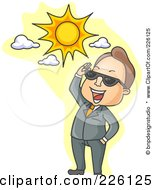 Royalty Free RF Clipart Illustration Of A Businessman Smiling Up At The Sun And Looking Through Shades by BNP Design Studio