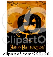 Royalty Free RF Clipart Illustration Of A Happy Halloween Greeting Under A Jackolantern On Orange