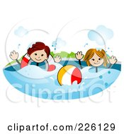 Royalty Free RF Clipart Illustration Of A Stick Boy And Girl Swimming With An Inner Tube And Ball