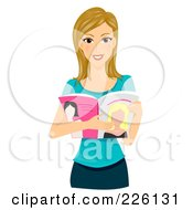 Royalty Free RF Clipart Illustration Of A Beautiful Woman Reading A Fashion Magazine