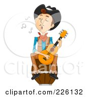 Wild West Cowboy Singing And Playing A Guitar