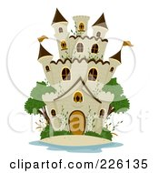Royalty Free RF Clipart Illustration Of A Stone Castle With Green Trees