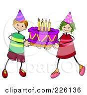 Royalty Free RF Clipart Illustration Of A Stick Boy And Girl Carrying A Birthday Cake