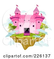 Royalty Free RF Clipart Illustration Of A Pink Brick Castle On A Floating Island by BNP Design Studio