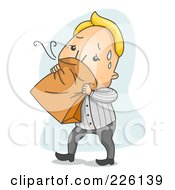 Royalty Free RF Clipart Illustration Of A Nauseated Man Breathing Into A Paper Bag