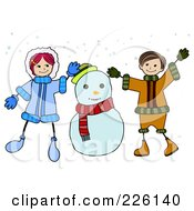 Royalty Free RF Clipart Illustration Of A Stick Boy And Girl Playing By A Snowman