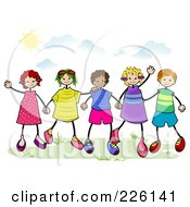 Royalty Free RF Clipart Illustration Of Diverse Stick Children Holding Hands Outside