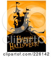 Royalty Free RF Clipart Illustration Of A Happy Halloween Greeting Under A Haunted Castle On Orange