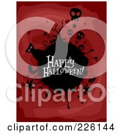 Royalty Free RF Clipart Illustration Of A Happy Halloween Greeting On A Black Globe With Skull Balloons And A Cat On Red by BNP Design Studio