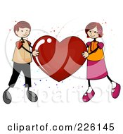 Royalty Free RF Clipart Illustration Of A Stick Boy And Girl Holding Up A Red Heart