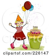 Royalty Free RF Clipart Illustration Of A Stick Birthday Girl With Balloons By A Cake