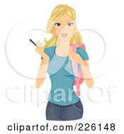 Royalty Free RF Clipart Illustration Of A Beautiful Blond College Student Holding A Pen