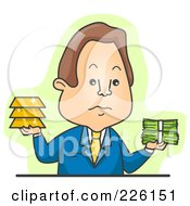 Businessman Weighing Gold Or Greenbacks