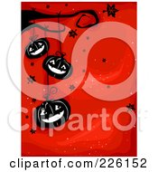 Royalty Free RF Clipart Illustration Of A Red Halloween Background With Falling Leaves And Hanging Jackolanterns by BNP Design Studio