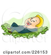 Royalty Free RF Clipart Illustration Of A Businessman Resting On A Bed Of Cash