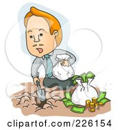 Royalty Free RF Clipart Illustration Of A Businessman Burying His Money In The Dirt
