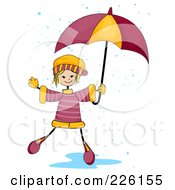 Royalty Free RF Clipart Illustration Of A Stick Girl Playing In A Puddle With An Umbrella
